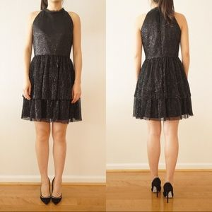 NWT Shoshanna Sequin glitter black dress Promdress